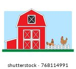 chicken coop with chickens | Shutterstock .eps vector #768114991