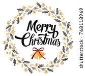 merry christmas wreath... | Shutterstock .eps vector #768118969