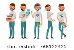geek vector. man. isolated flat ... | Shutterstock .eps vector #768122425