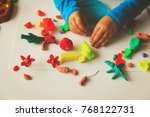 child playing with clay molding ... | Shutterstock . vector #768122731