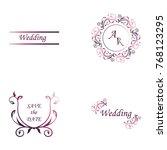 set of wedding invitation... | Shutterstock .eps vector #768123295