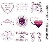 set of wedding invitation... | Shutterstock .eps vector #768123301