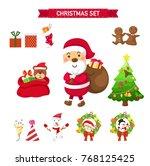 christmas set vector... | Shutterstock .eps vector #768125425
