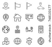 thin line icon set   pointer ... | Shutterstock .eps vector #768133177