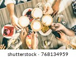 friends group drinking... | Shutterstock . vector #768134959