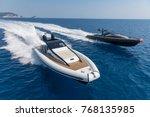 motor boat in navigation | Shutterstock . vector #768135985