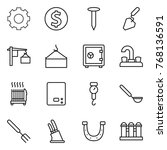 thin line icon set   gear ... | Shutterstock .eps vector #768136591