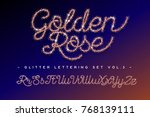 glitter lettering set golden... | Shutterstock .eps vector #768139111