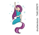 cute little mermaid  doodle... | Shutterstock .eps vector #768139879