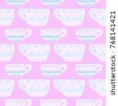 pattern doodle cup of tea... | Shutterstock .eps vector #768141421
