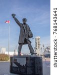 Small photo of Quebec City, Canada - October 23, 2017 : Monument to fallen Merchant Seamen from WWII on waterfront of Quebec City, Canada.