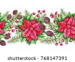 christmas seamless border of... | Shutterstock . vector #768147391