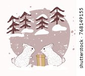 two rabbits with a gift. winter ... | Shutterstock .eps vector #768149155