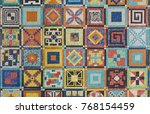 art design the mosaic on the... | Shutterstock . vector #768154459