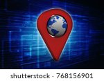 3d rendering red map pointer   Shutterstock . vector #768156901