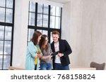 creative teamwork. positive... | Shutterstock . vector #768158824