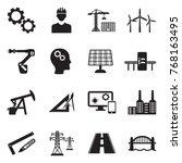 engineering icons. black flat... | Shutterstock .eps vector #768163495