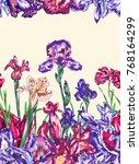 purple iris vector blossom...   Shutterstock .eps vector #768164299