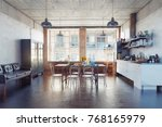 the modern loft kirchen... | Shutterstock . vector #768165979