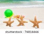 starfish playing at the beach | Shutterstock . vector #76816666