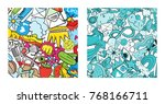 set of graffiti pattern with... | Shutterstock . vector #768166711