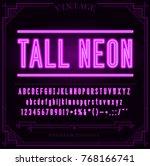 bright neon alphabet letters ... | Shutterstock . vector #768166741