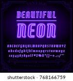 bright neon alphabet letters ... | Shutterstock . vector #768166759