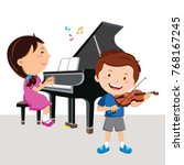 kids playing piano and violin | Shutterstock .eps vector #768167245
