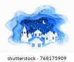3d abstract paper cut... | Shutterstock .eps vector #768175909
