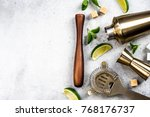 Stock photo ingredients for making drinks and cocktails bartender tools 768176737