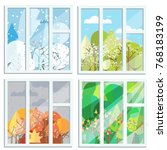 set of four windows with... | Shutterstock .eps vector #768183199