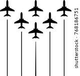 airplane flying formation  air... | Shutterstock .eps vector #768186751