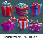 holiday gifts boxes set. vector ... | Shutterstock .eps vector #768188527