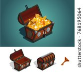 ancient treasure chest with... | Shutterstock .eps vector #768195064