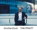 young successful businessman in ... | Shutterstock . vector #768198697