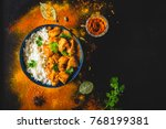 indian butter chicken with... | Shutterstock . vector #768199381