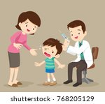 doctor take vaccine for kid... | Shutterstock .eps vector #768205129