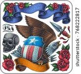 hand drawn tattoo set of... | Shutterstock .eps vector #768222817