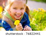 Cute Little Girl  On The Meadow ...