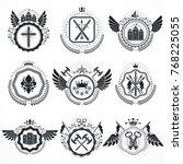 vector emblems  vintage... | Shutterstock .eps vector #768225055