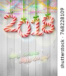 new year 2018 in shape of candy ...   Shutterstock .eps vector #768228109