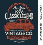 vintage style car print design... | Shutterstock .eps vector #768239554