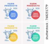 farm dairy products abstract... | Shutterstock .eps vector #768251779