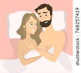 happy smiling couple in bed... | Shutterstock .eps vector #768257419