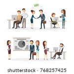 people at office working and... | Shutterstock .eps vector #768257425