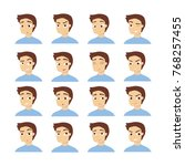 man emotions set. fun and anger ...   Shutterstock .eps vector #768257455