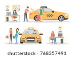 taxi and people set. call... | Shutterstock .eps vector #768257491