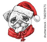 christmas card with puppy pug ... | Shutterstock .eps vector #768259171