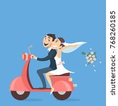 just married couple riding... | Shutterstock .eps vector #768260185