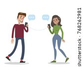 people chatting using... | Shutterstock .eps vector #768262981